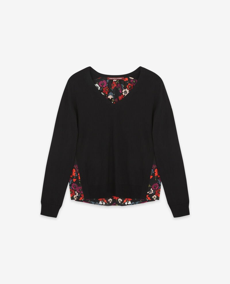 Bi-material jumper with a printed silk back Poppies black Decibel