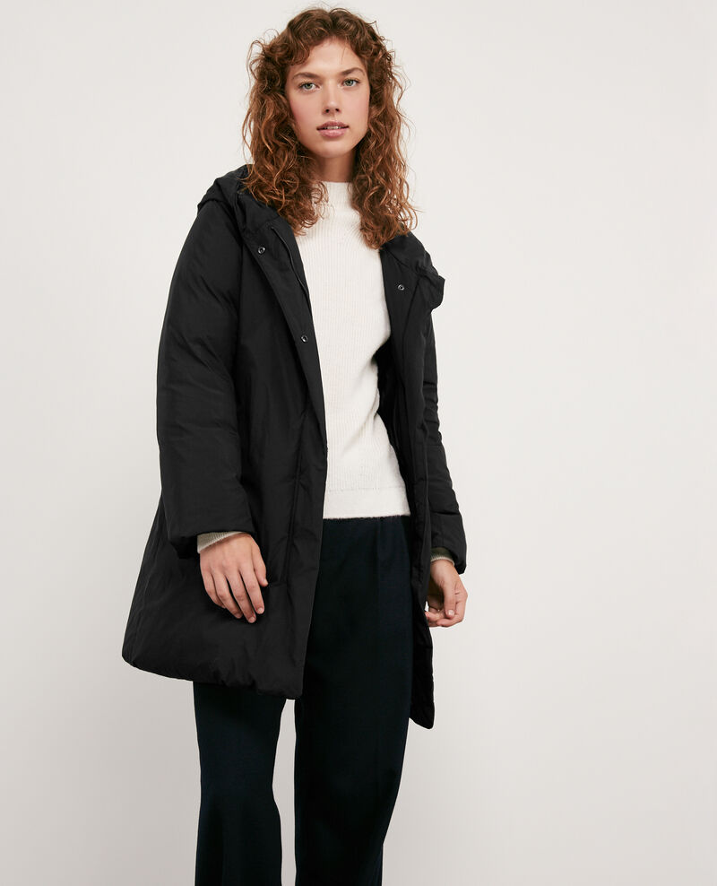 Hooded down coat NOIR