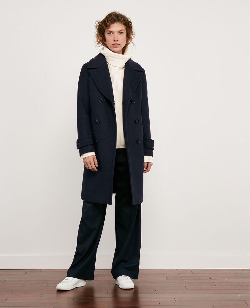 Wool blend pea coat Navy Didanglas