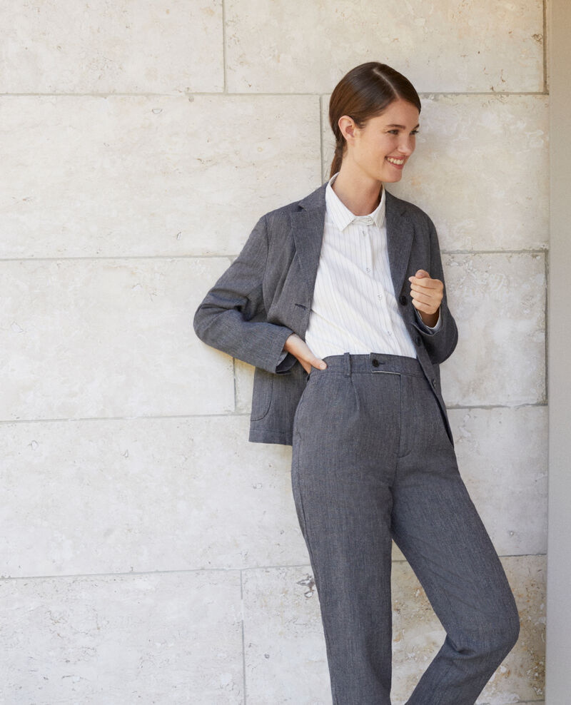 Linen and wool trousers Medieval blue Gaulicien
