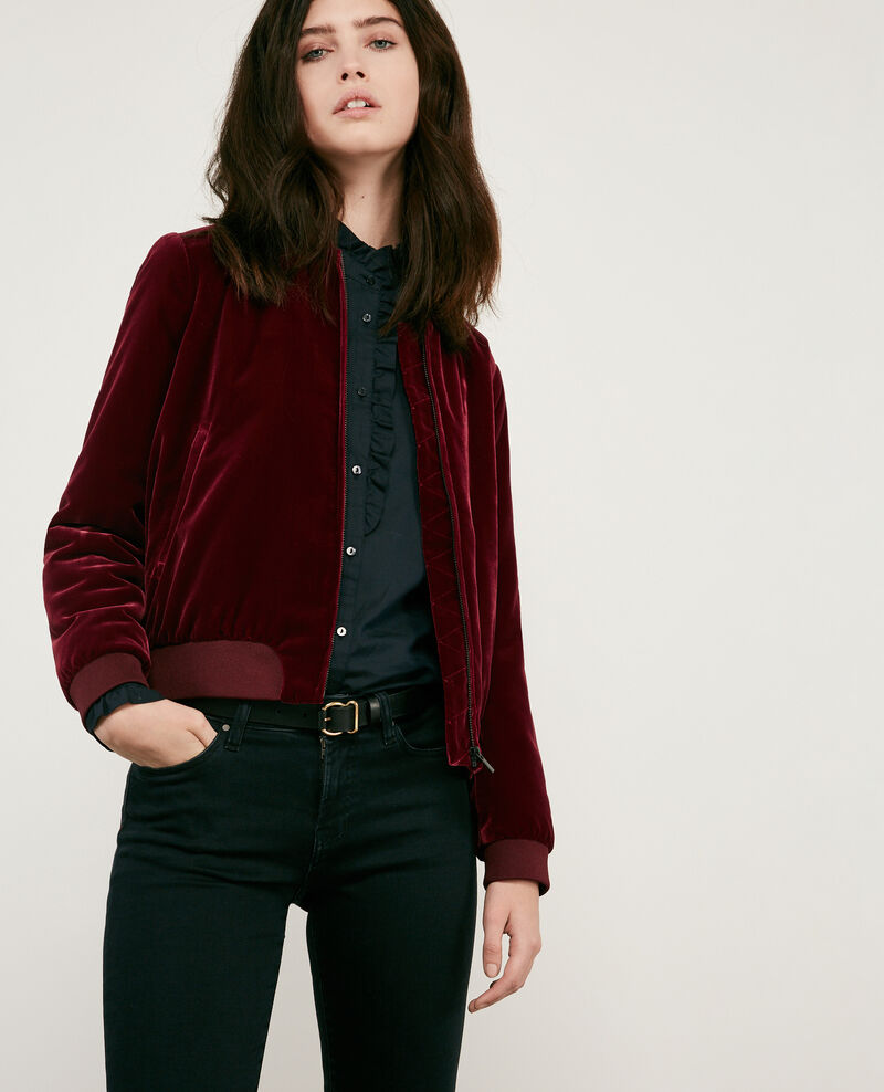 Velour bomber jacket BURGUNDY
