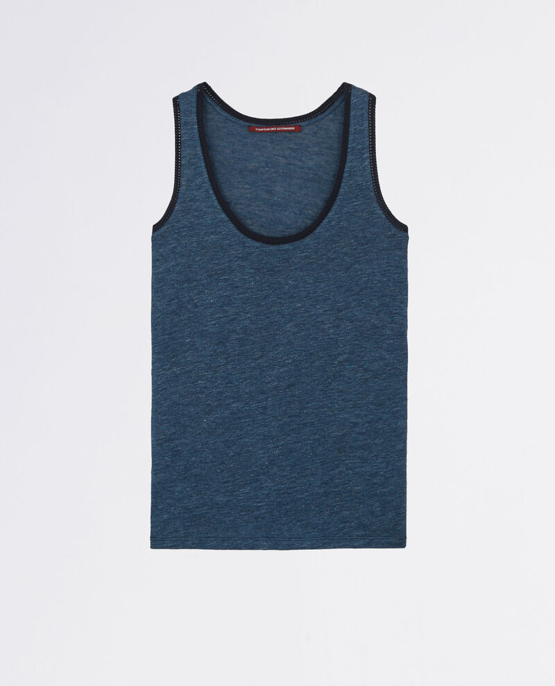 Linen tank top with embroidery detail Indigo/midnight Caraibes