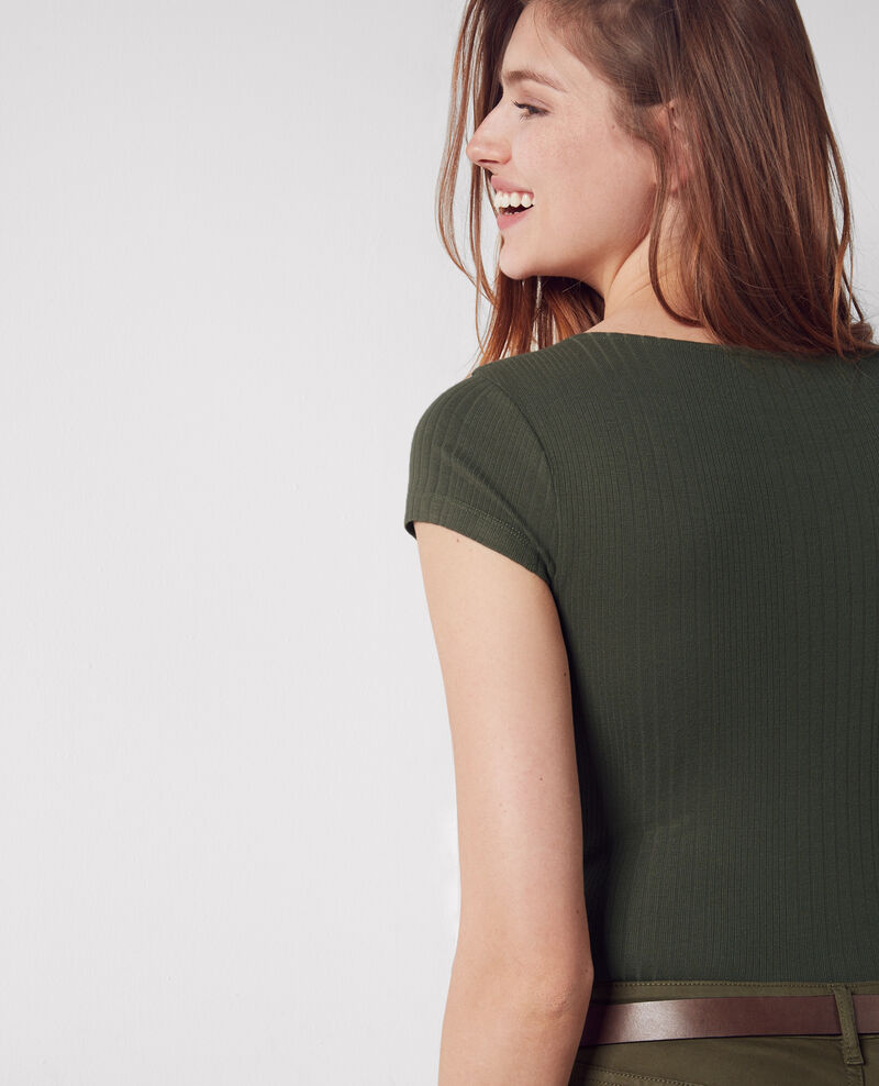 Ribbed buttoned t-shirt Army Cypres