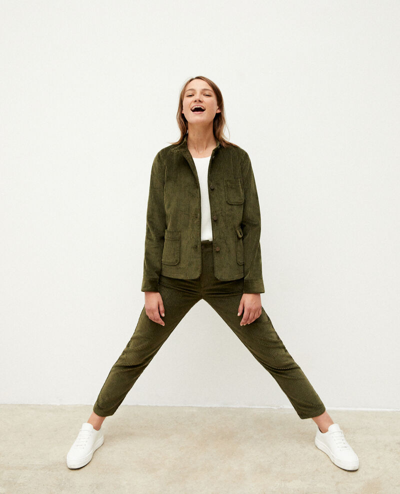 Ribbed corduroy trousers OLIVE NIGHT