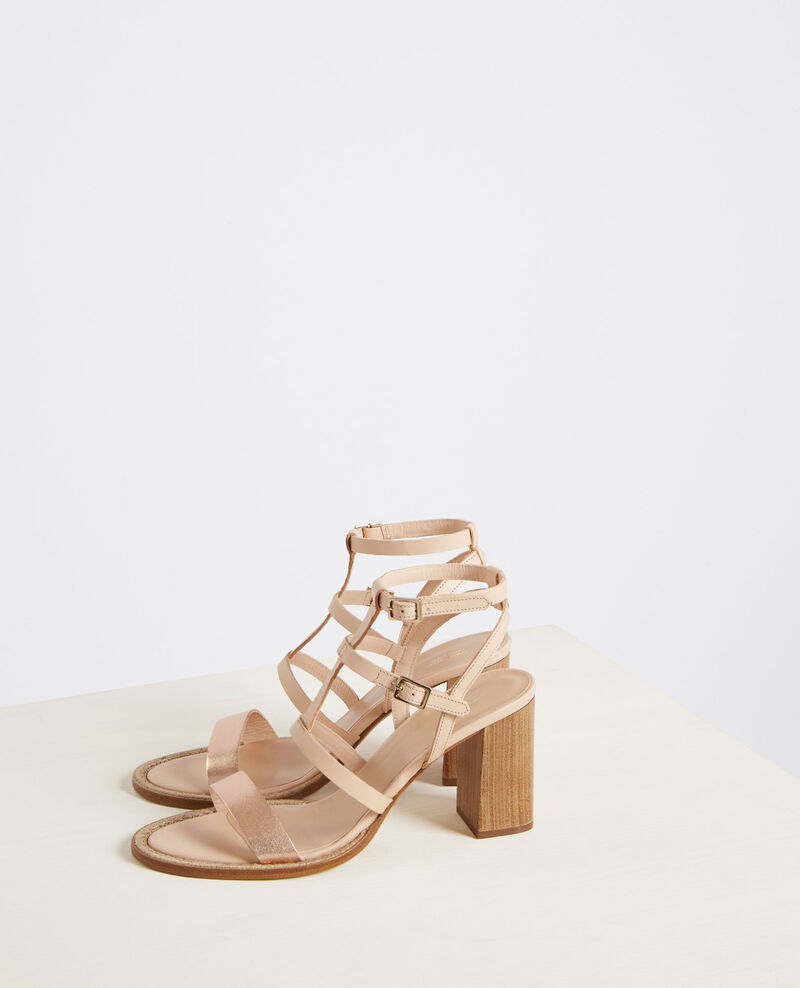 Leather high-heeled sandals with braid details Cooper/beige Cafer