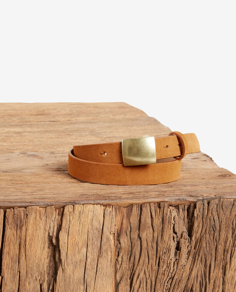 Split leather belt Cognac Faille