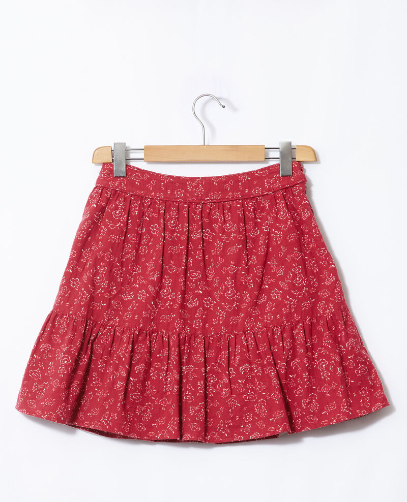 Skirt with frill Anthemis bloom rio red Gaspard