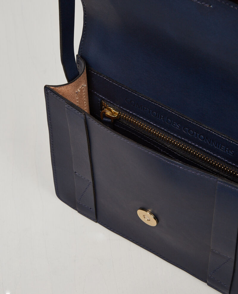Leather mini-satchel Ink blue Cecile