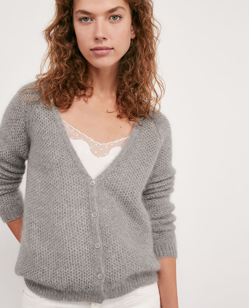 Mohair cardigan Light grey/off white Djoan