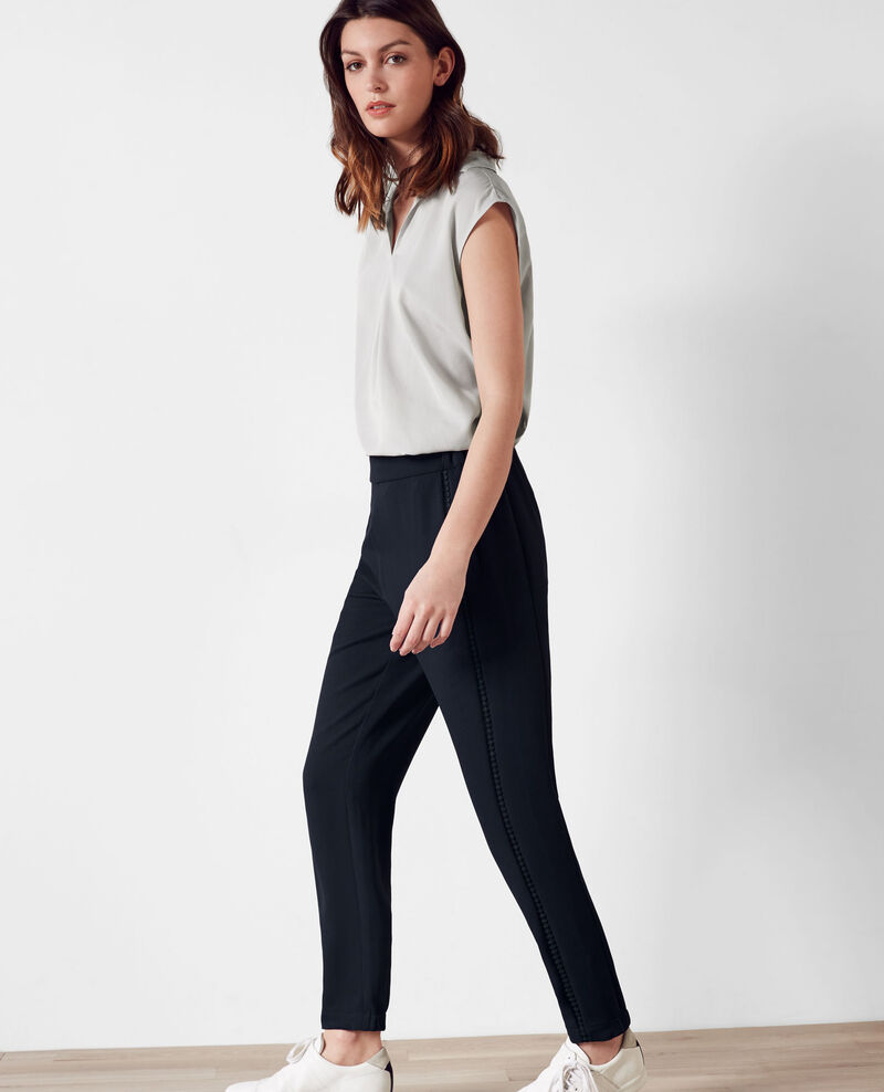 Crepe trouser with braid detail Midnight blue Canobou