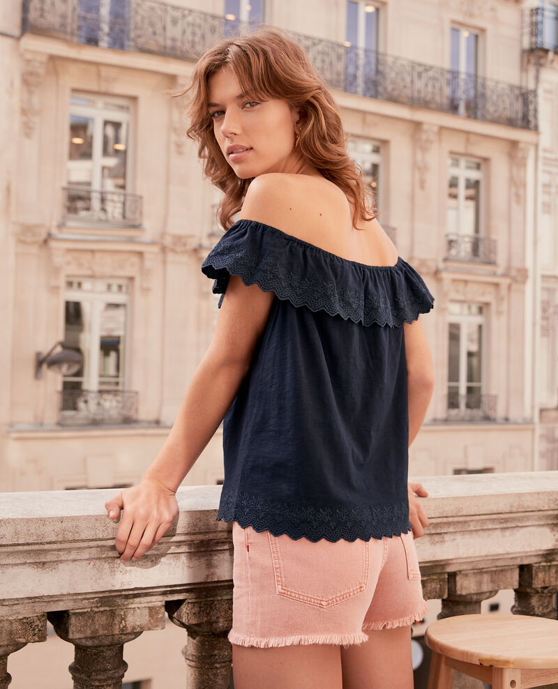Top with elasticated and embroidered frill Navy Ficaja