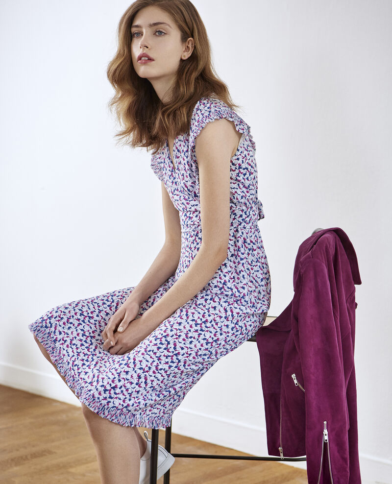 Printed silk wrap dress BUBBLES PEONY