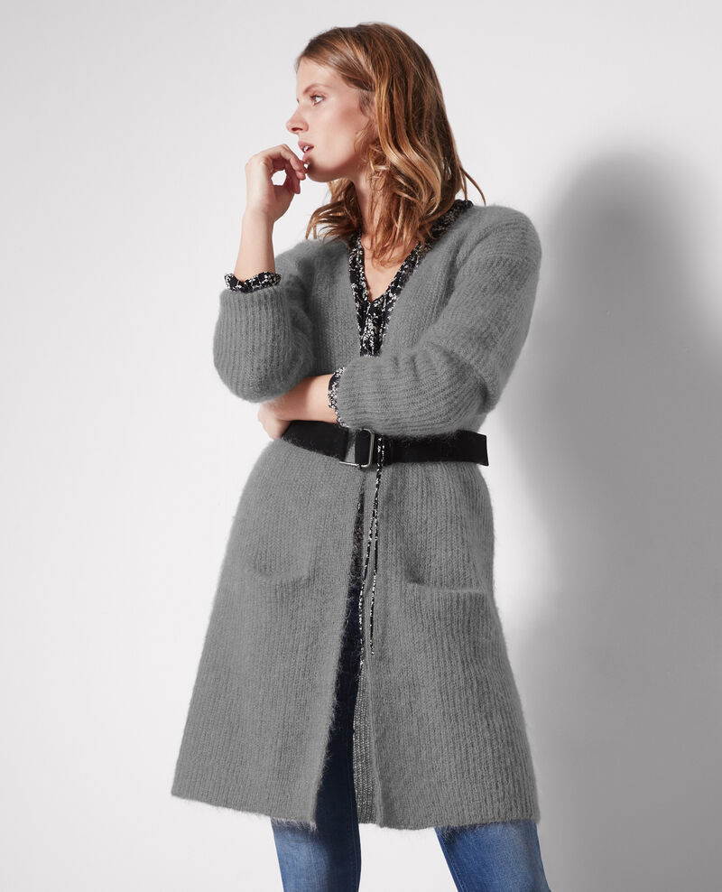 Long oversize cardigan with mohair and wool Iron grey Clyde