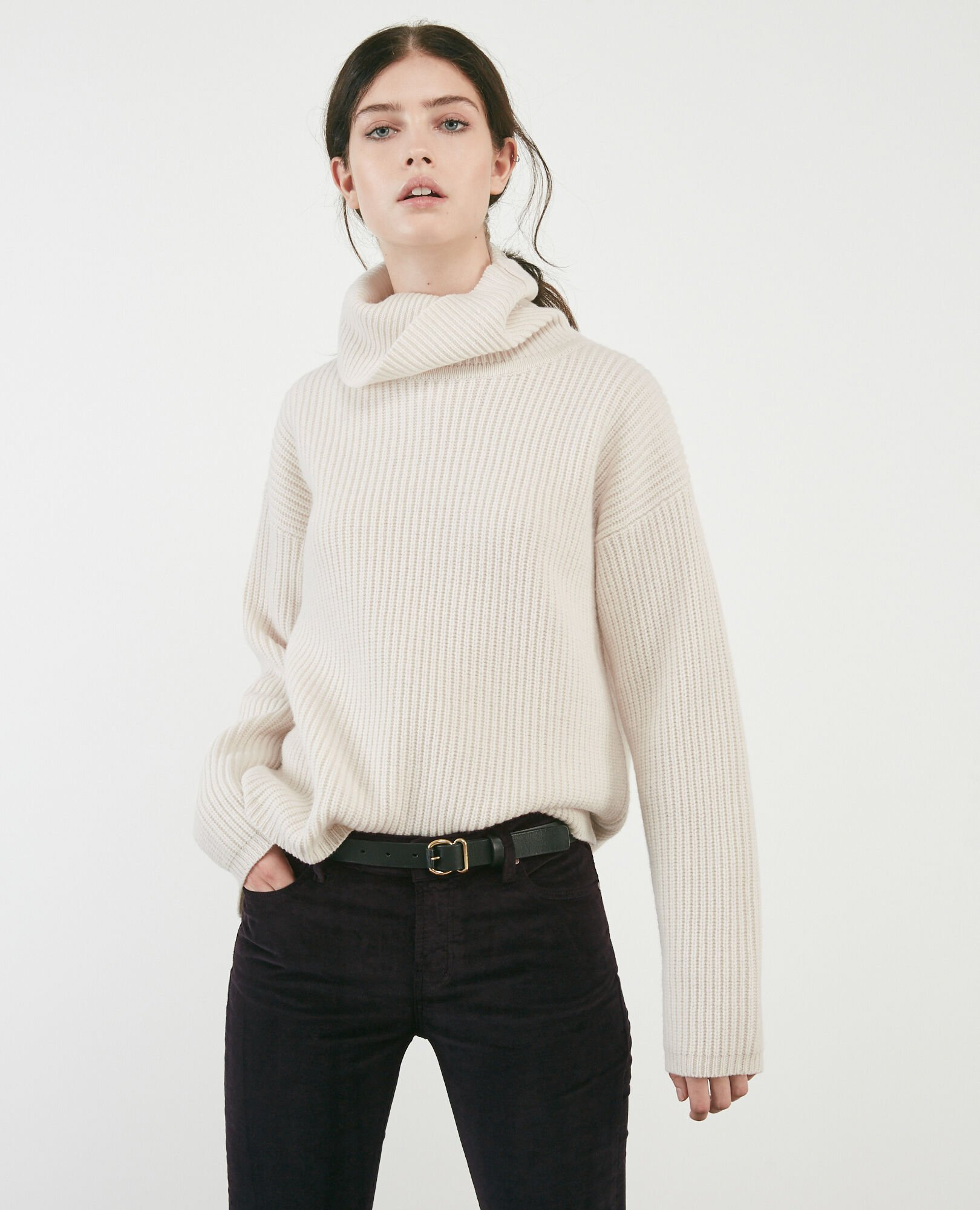 100% wool roll neck jumper OFF WHITE