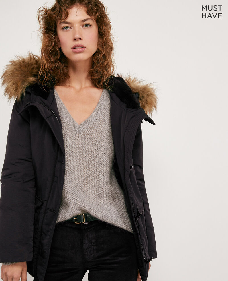 Down jacket with removable faux fur trim NOIR