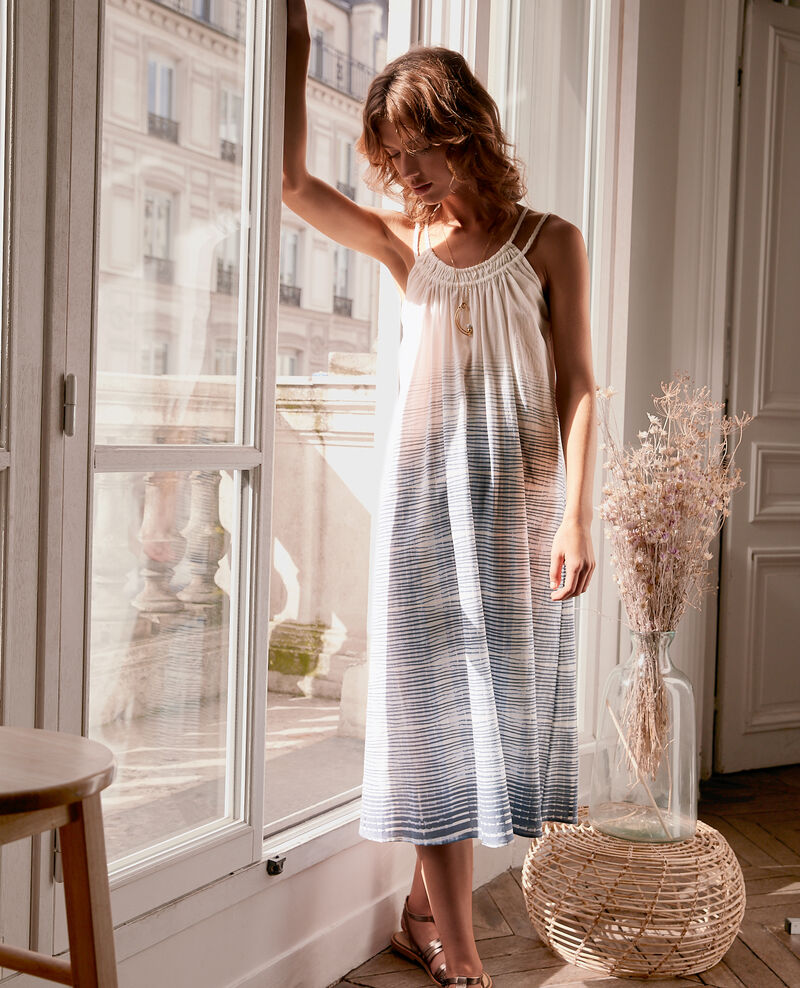Dress with spaghetti straps Tie&dye washed blue Fummer