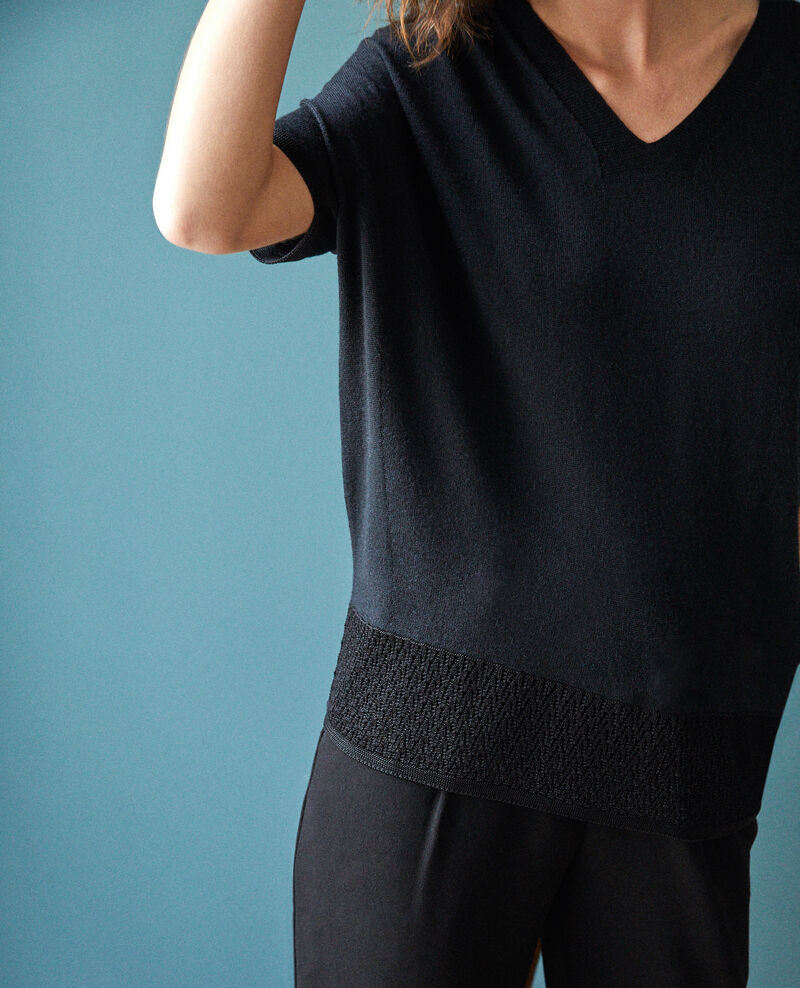 Zero-stitching short-sleeved knit Noir Gemilio