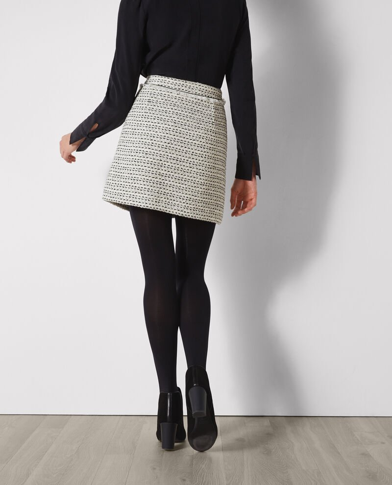 Short tweed skirt Off white/black Carlage
