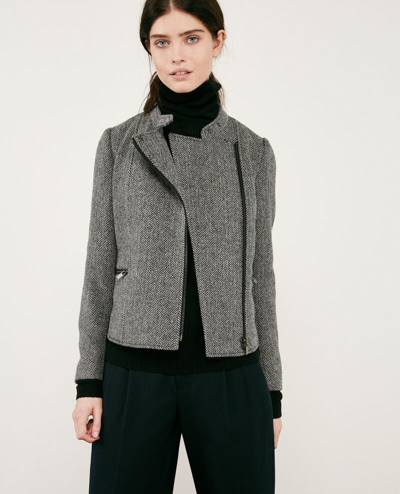 Wool tweed-style biker jacket MEDIUM HEATHER GREY