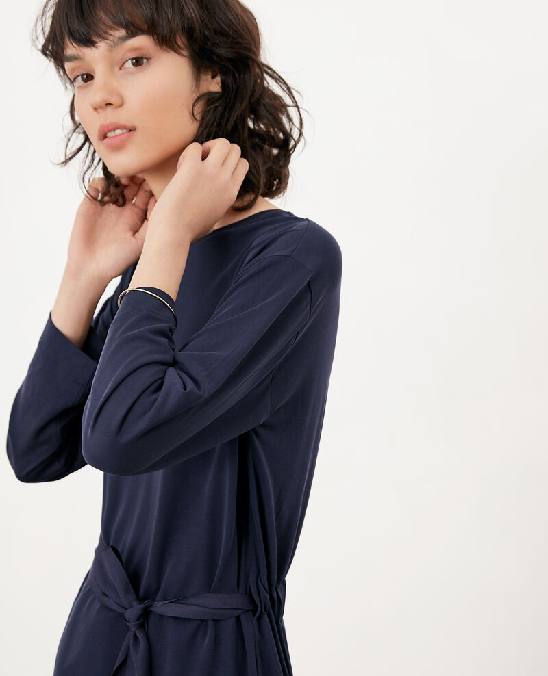 Loose T-shirt with belt NAVY