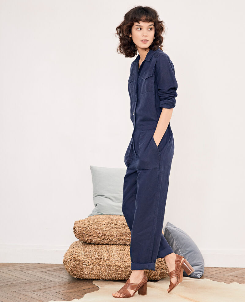 Safari-style jumpsuit with linen MARINE