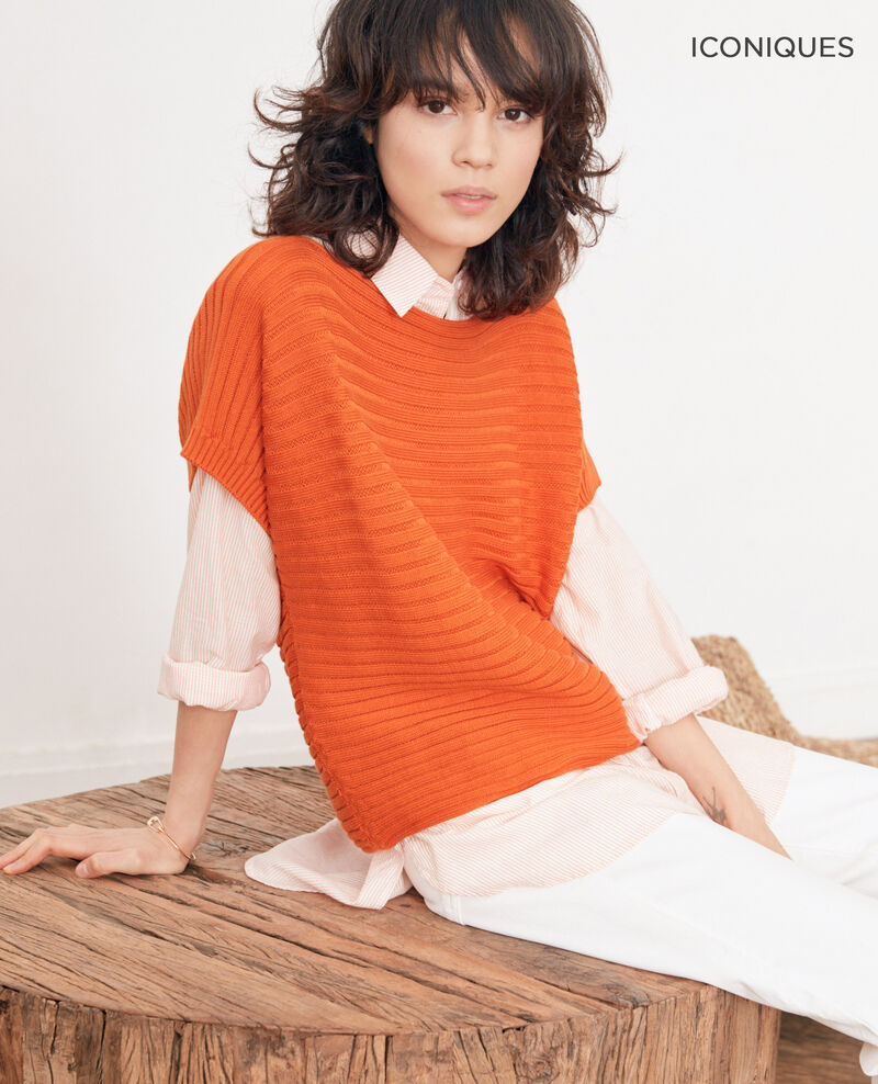 Short-sleeved seamless ribbed knit jumper TANGERINE