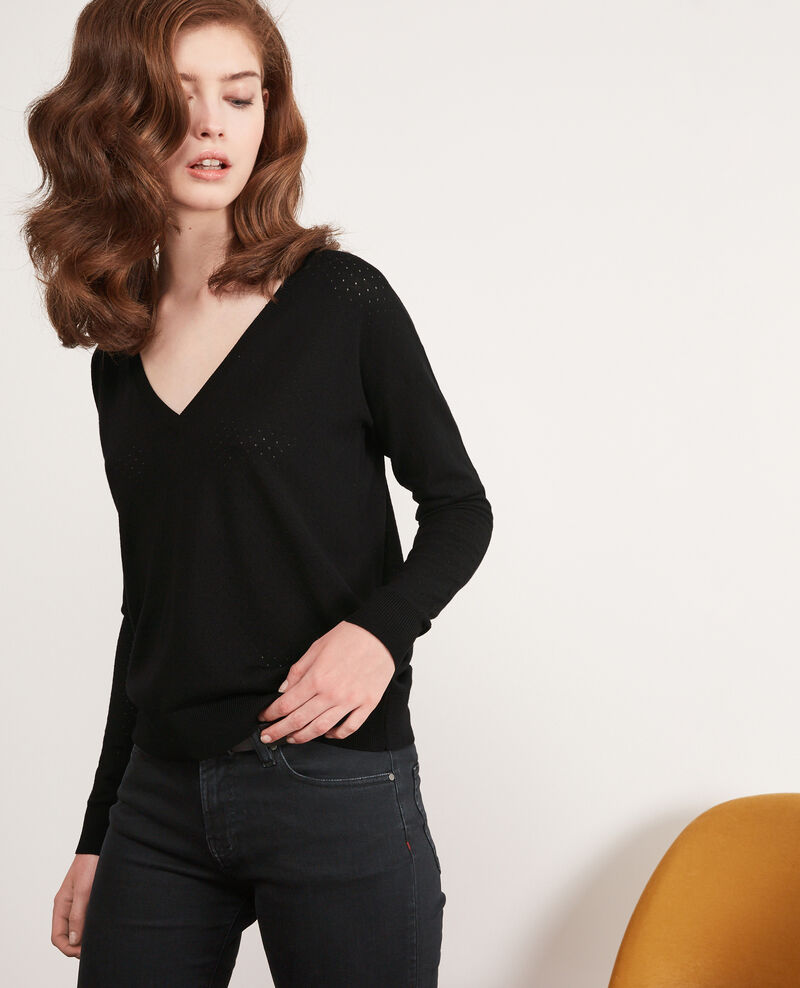 Detail knitted merino wool jumper Noir Darago