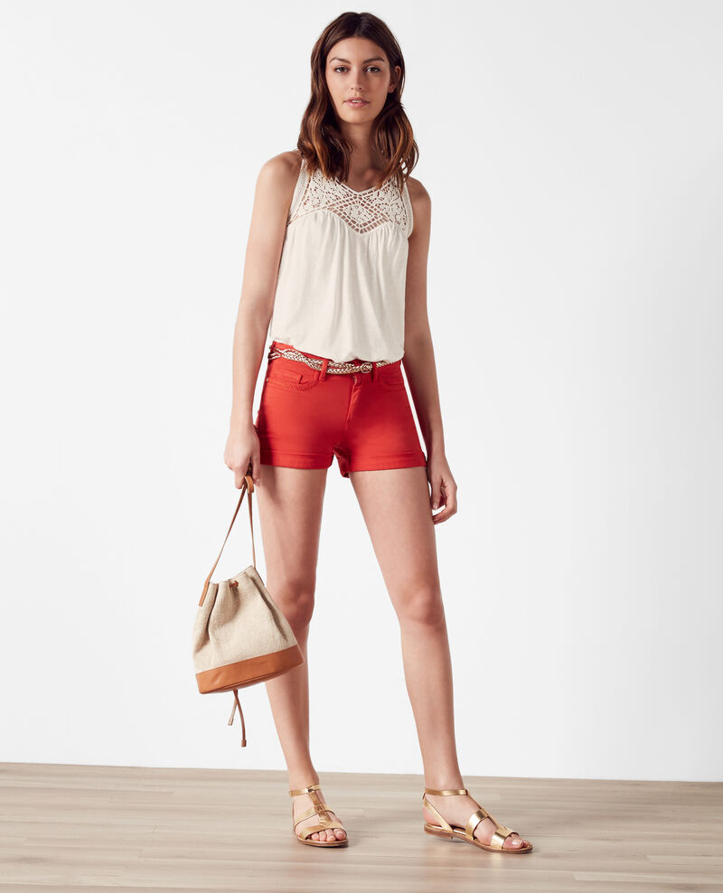 Top with openwork embroidery at the neck Off white Castafiore