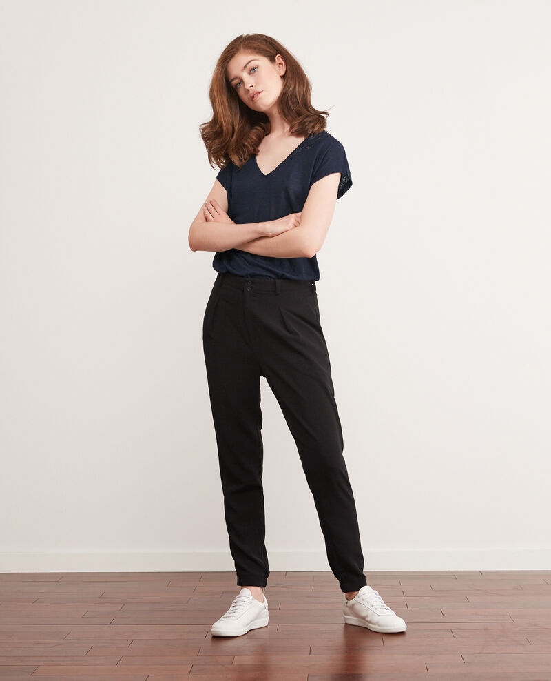Linen t-shirt with lace insert Midnight Choubidou