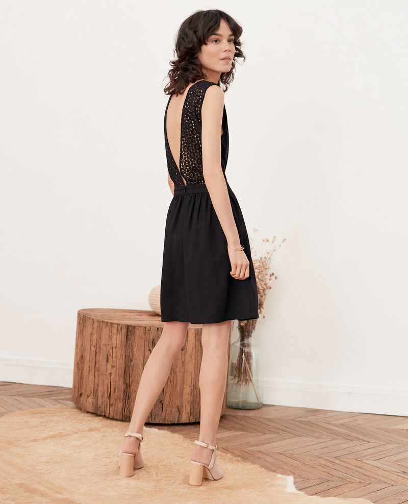 V-back lace dress   Noir Farseille