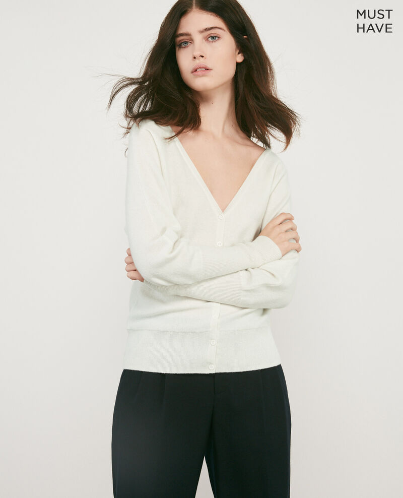100% cashmere cardigan OFF WHITE