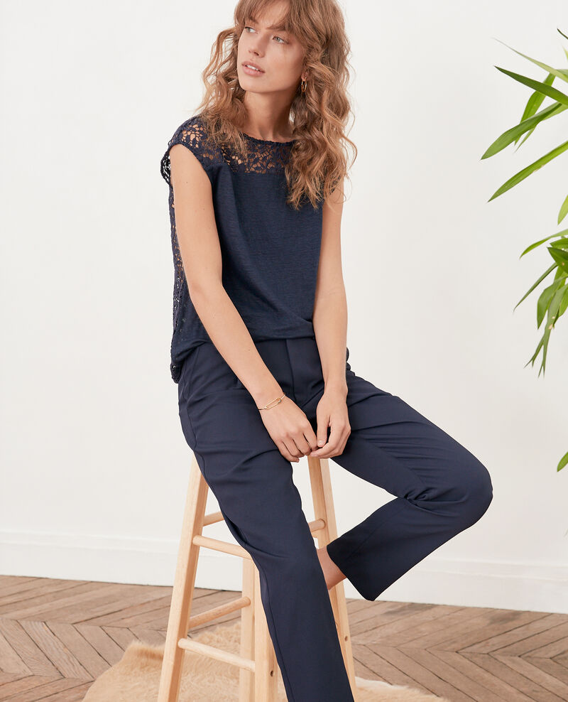 Linen t-shirt with lace back Navy Furbigo