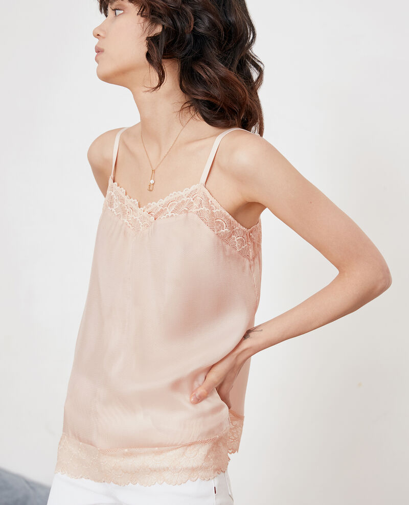 Nightie-style top with lace Nude Fanny