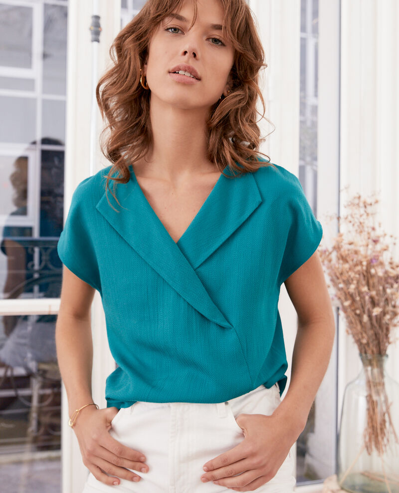 Top with low-cut back PACIFIC GREEN