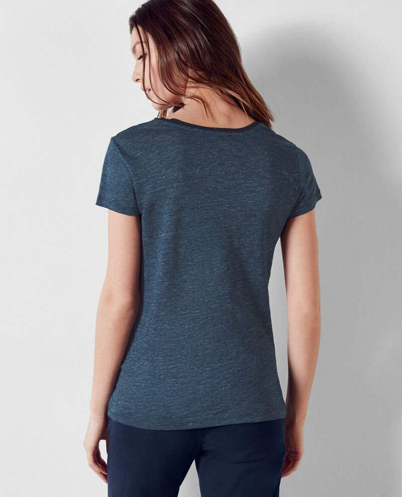 Linen t-shirt with embroidery detail Indigo/midnight Carlton