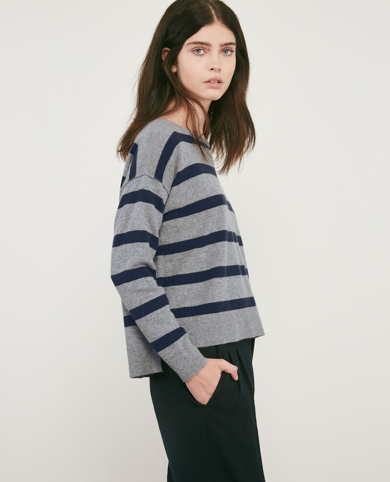 100% cashmere striped jumper Medium heather grey/navy Delamer