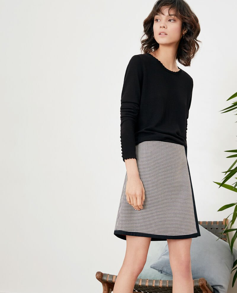 Houndstooth jacquard skirt RED