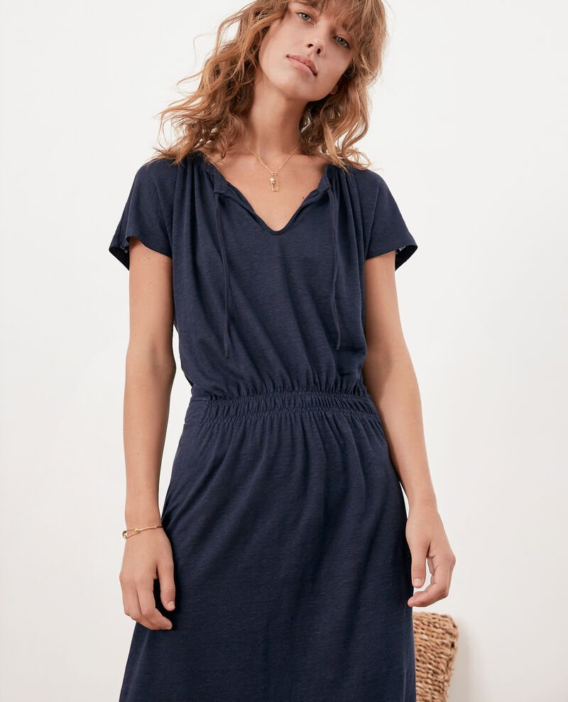 Linen dress Navy Flou