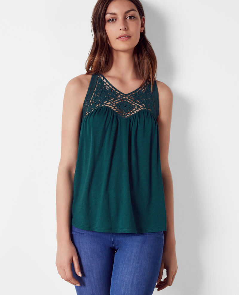 Top with openwork embroidery at the neck Jungle green Castafiore