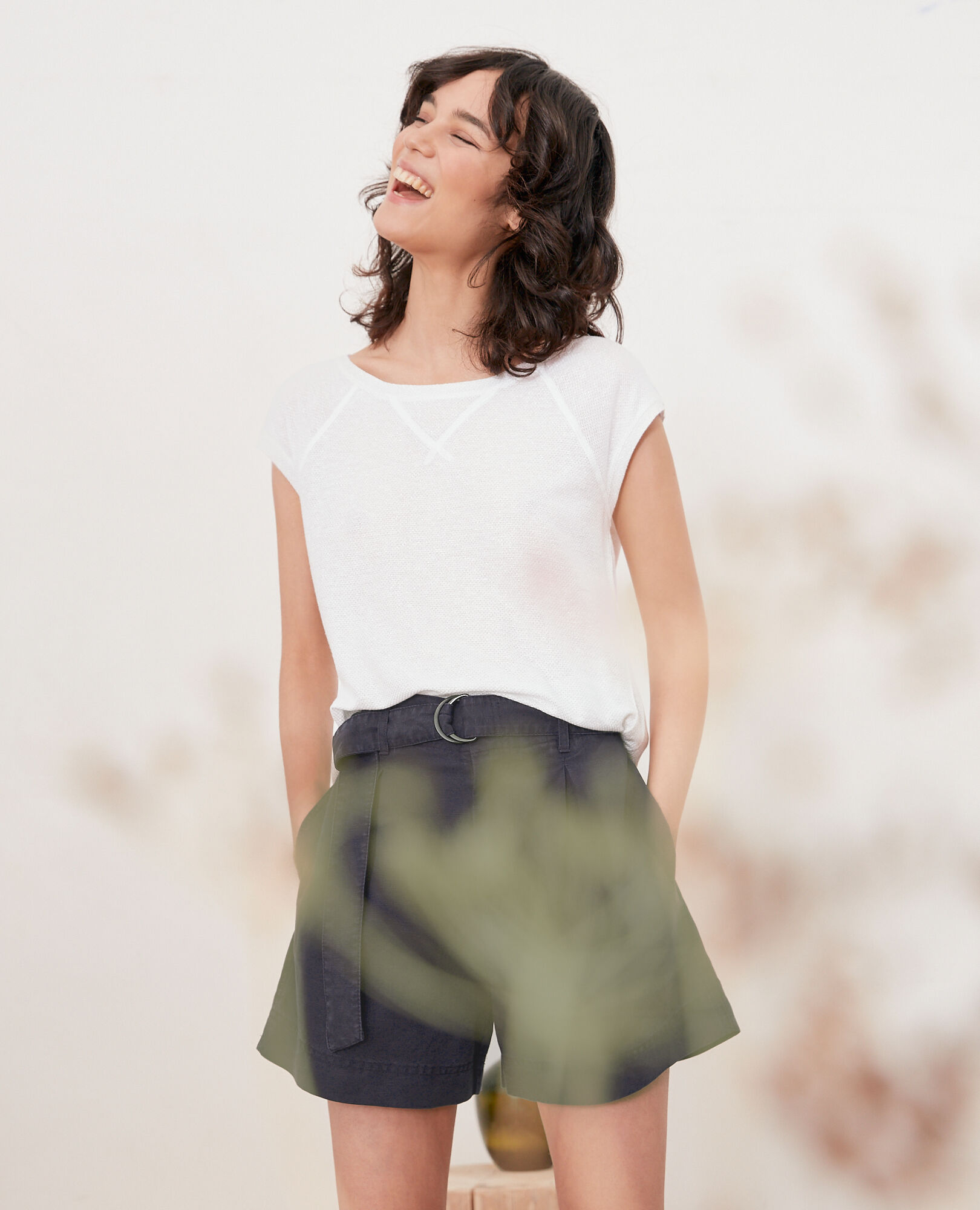 Iridescent T-shirt with linen OFF WHITE