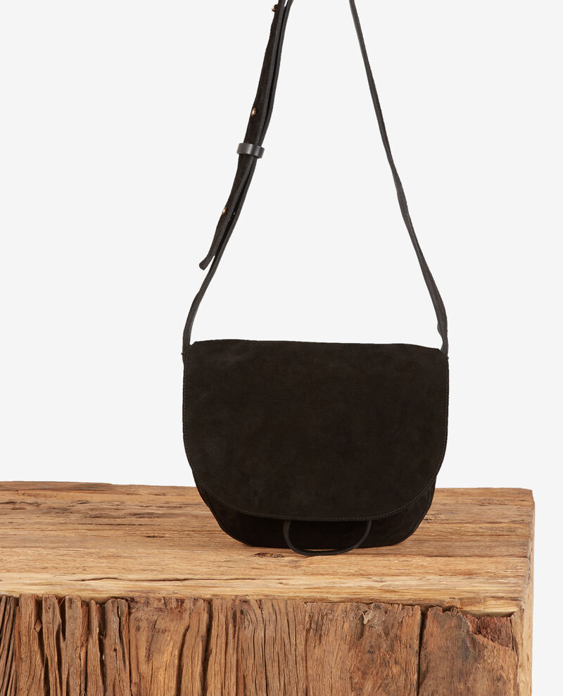 Leather blend saddle bag Noir Dedans