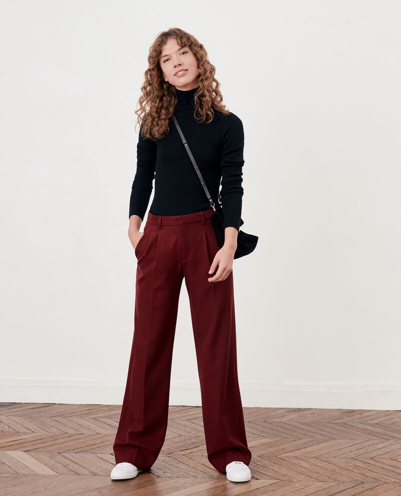 Wool blend wide trousers Burgundy Declic