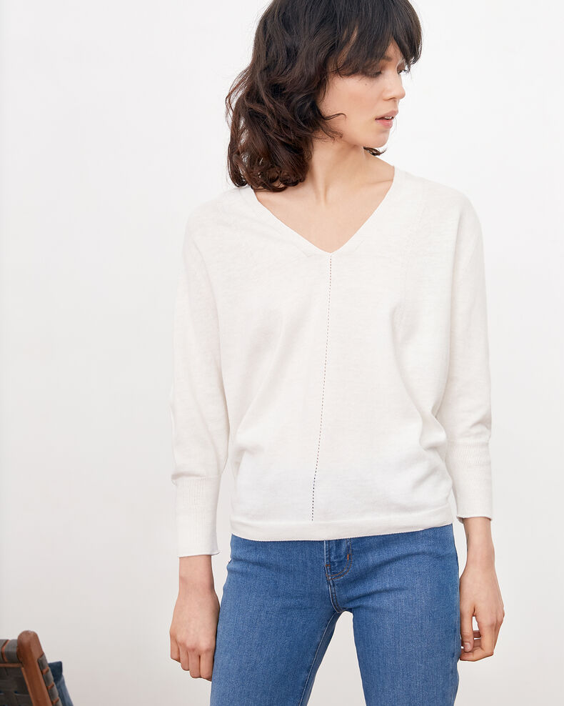 Jumper with 3/4 sleeves Off white Fabienne