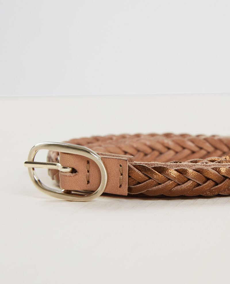 Braided, reversible two-tone leather belt Bronze Clown