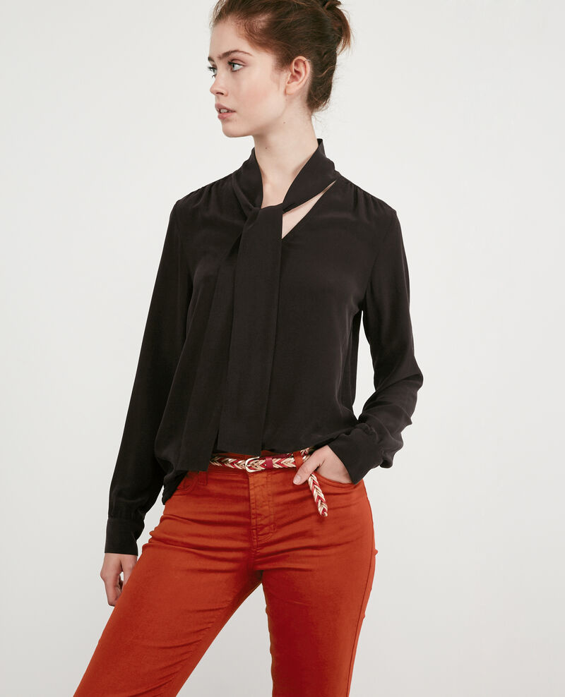 Silk pussybow blouse Noir Delivera