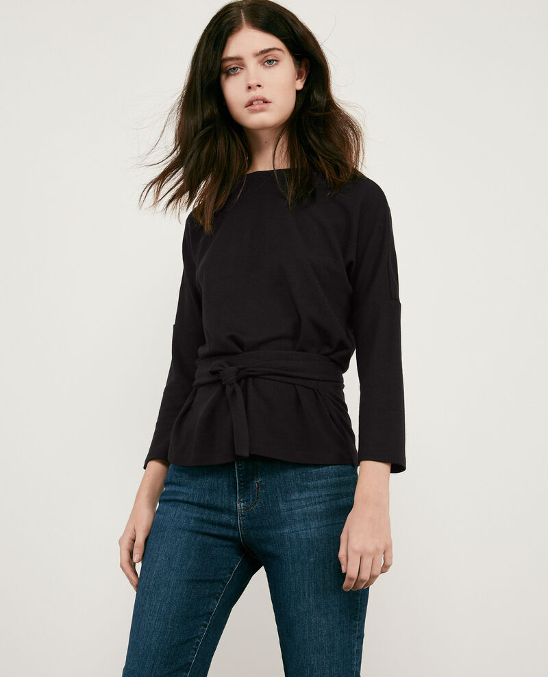 Wool blend belted sweater Noir Debongout