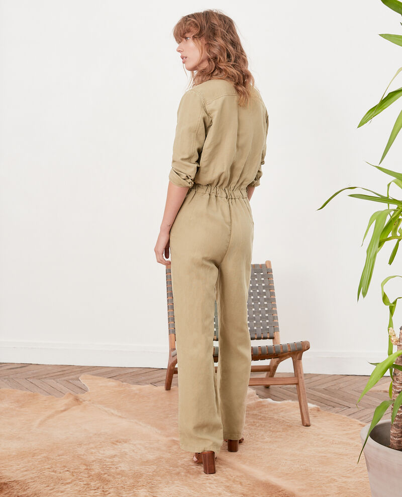 Safari-style jumpsuit with linen Mastic Fruit