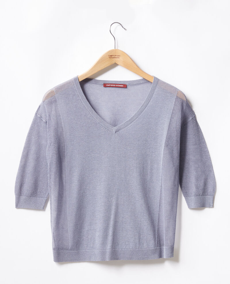 Jumper with open knit details WASHED BLUE