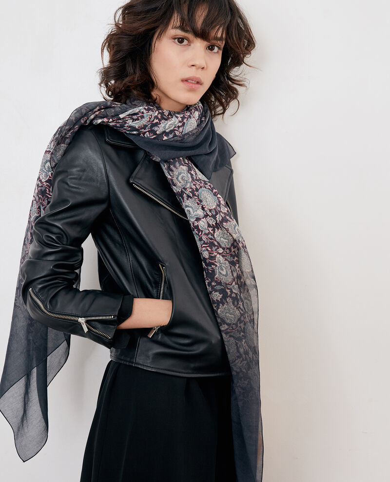 Printed scarf with silk Darjeeling black Fifrelin
