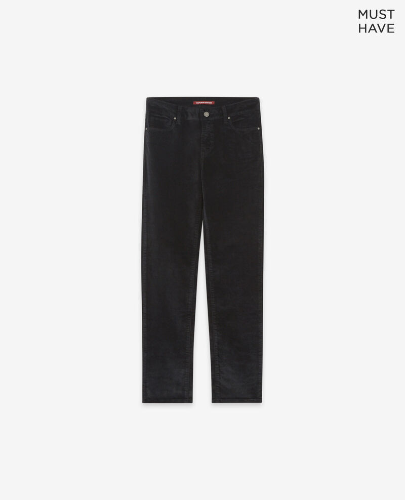 Stretch velvet cigarette pants Noir Decharpe